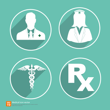Silhouette medical icon doctor and nurse avatar profile picture Vector