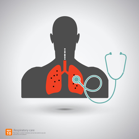 auscultate: respiratory care with shadow, medical sign
