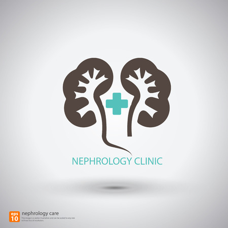 nephrology clinic symbol with shadow - vector illustration