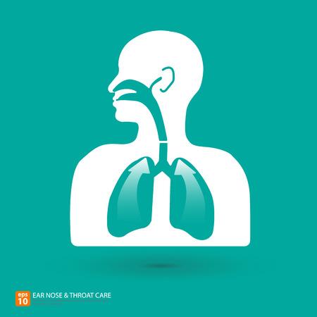 aparato respiratorio: Cuidado respiratorio con el oído, la nariz y la garganta símbolo Vectores