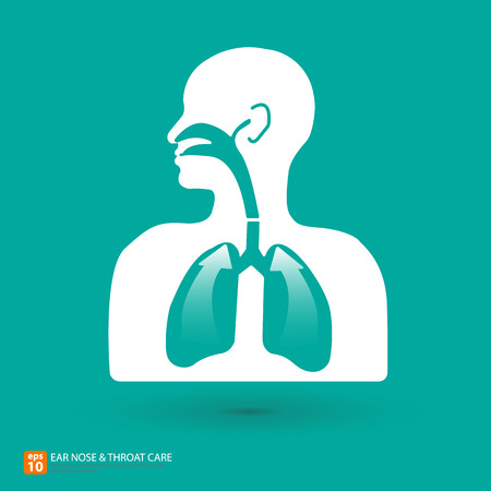 throat: Respiratory care with ear, nose and throat symbol