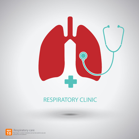 respiratory care icon vector with shadow, medical sign