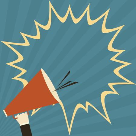 relaciones publicas: mano que sostiene el megáfono para las relaciones públicas