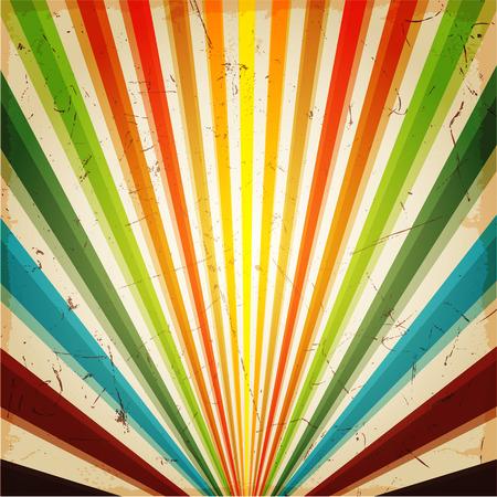 Nieuwe vector Vintage Multicolor rijzende zon of in de zon straal, zon barstte retro achtergrond ontwerp Stock Illustratie