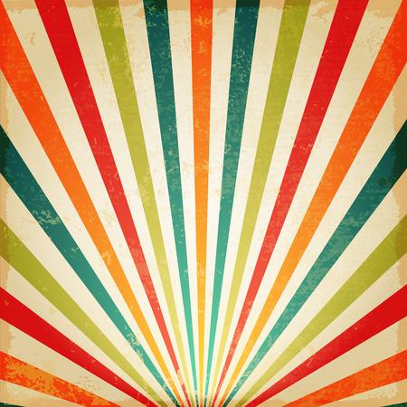 sol naciente: Nueva Multicolor Vintage sol naciente o rayo de sol, sol estalló diseño retro fondo Vectores