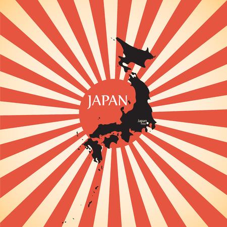 kamikaze: vintage Red rising sun or sun ray,sun burst and japan map design