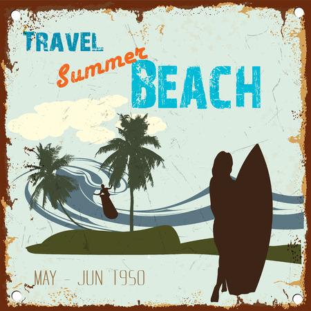 california beach: Vintage poster of  Travel summer beach surfing zone