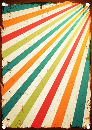 Nieuwe vector poster vintage Multicolor rijzende zon of de zon straal, zon barstte retro achtergrond ontwerp