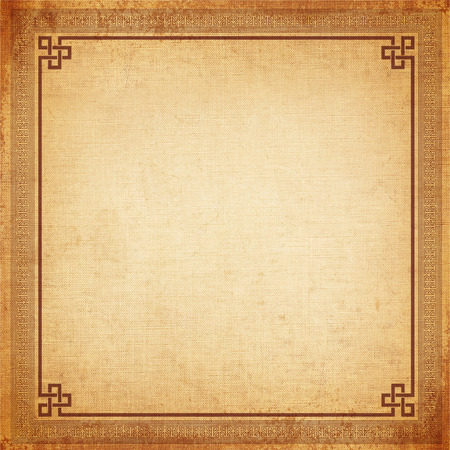 Vintage background, chinese frame old canvas texture Stock Photo