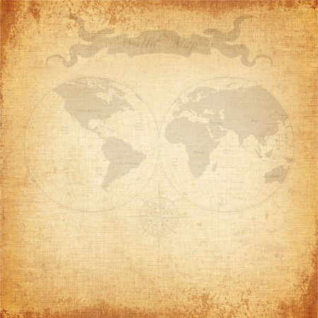 Vintage background, old world map with canvas texture