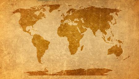 Mapa del mundo textura de papel viejo - hoja de papel de estraza. Foto de archivo - 40589334