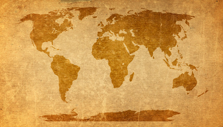 antique map: world map on old paper texture - brown paper sheet.