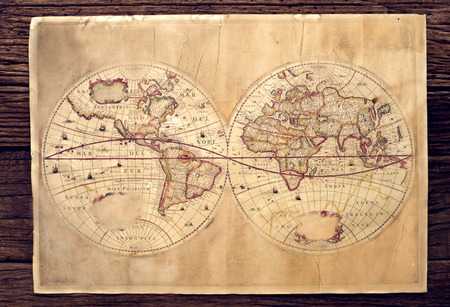 Vintage map on wood table