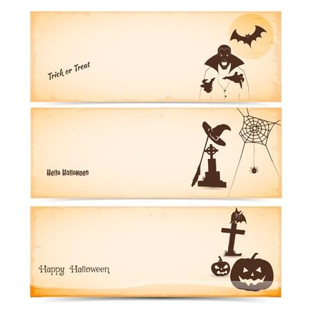 Set of three vintage Halloween banners and Website spooky header or ticket   vector illustration design