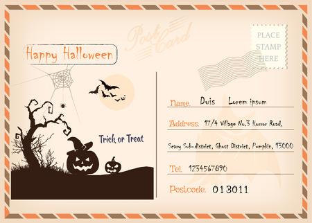 Happy Halloween Vintage Postcard vector design Stock Illustratie