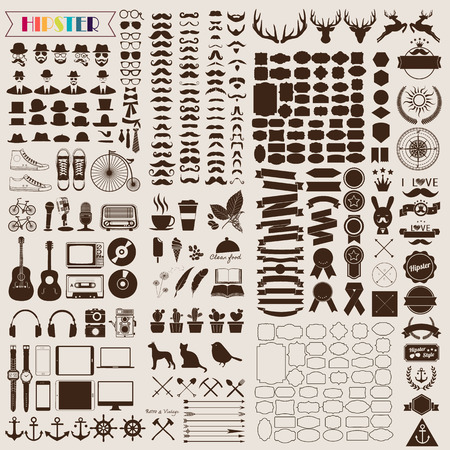 hipster: Set of vintage elements and icons retro for hipster style design. Illustration eps10