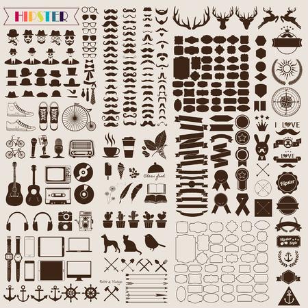 lối sống: Thiết lập các yếu tố cổ điển và biểu tượng retro cho thiết kế theo phong cách hipster. Minh họa eps10