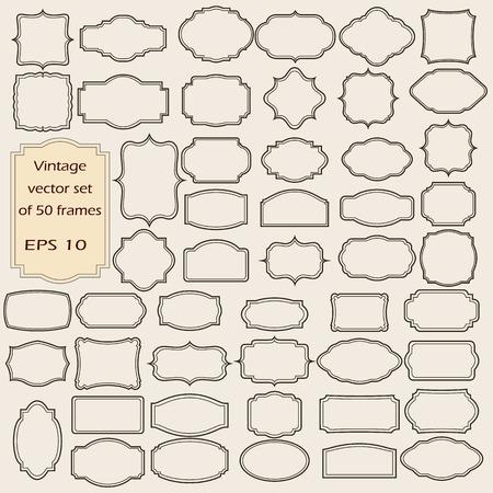 сбор винограда: Векторный набор старинных кадров, пустые ретро значки и наклейки.