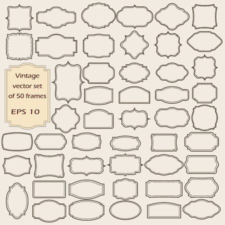 Vector Reihe von Vintage-Rahmen, leer retro Abzeichen und Etiketten.