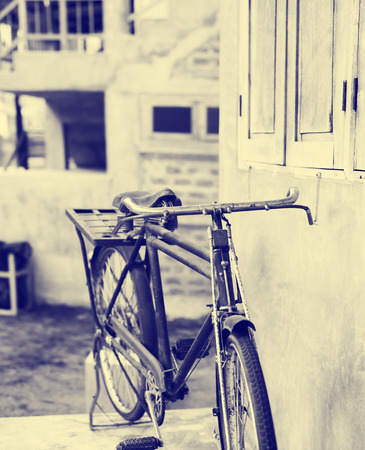vintage grunge: Old bicycle, vintage color style
