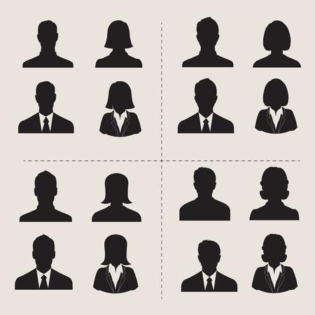 male silhouette: Conjunto de los hombres y mujeres de vectores con foto de perfil avatar negocio