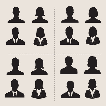 visage femme profil: D�finir des hommes et des femmes de vecteurs avec photo de profil entreprise avatar Illustration