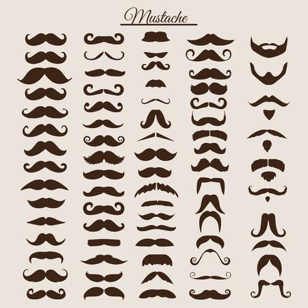 Set med vintage och retro mustasch för hipster utformar design. Illustration