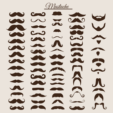 Set of vintage and retro mustache for hipster style design. Illustration