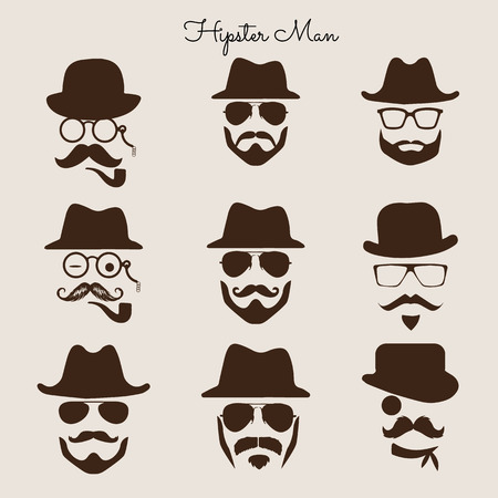 profiles: Hipster man avatar profile picture illustration in retro concept background and vintage style. Illustration