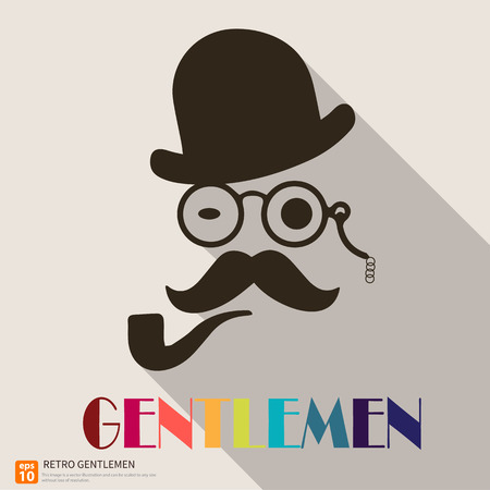 monocle: Vintage silhouette of gentleman and bowler, mustaches, monocle retro background Illustration