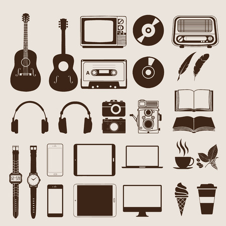 old style: Set of vintage elements and icons retro for hipster style design. Illustration  Illustration