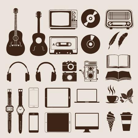 casette: Set of vintage elements and icons retro for hipster style design. Illustration  Illustration