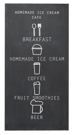beverage menu: Beverage menu and breakfast on chalk blackboard isolate