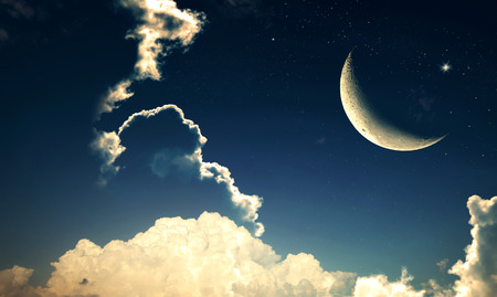 Crescent moon with Stars