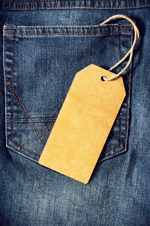 in jeans: Vaciar etiqueta de papel marrón de mezclilla