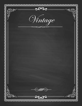 포도 수확: 빈티지 프레임, 빈 검은 칠판 디자인