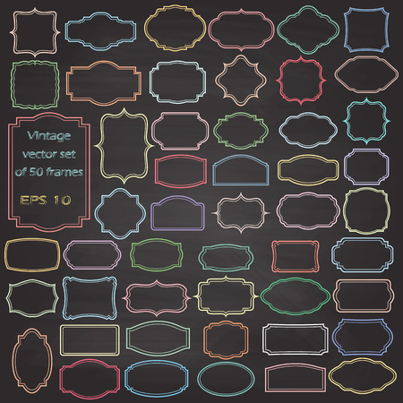 chalk outline: set of Vintage frames, blank retro badges and labels