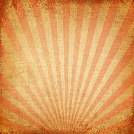 Vintage bakgrund Röd uppgående solen eller sol stråle, sol brast retro papperet skrynkligt