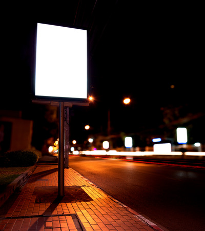 billboards: blank of billboards at bus stop in night