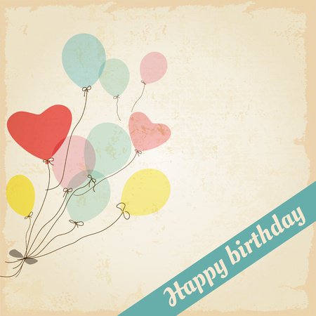 생일 축하 엽서, 빈티지 풍선 심장 풍선 - 벡터 디자인 일러스트