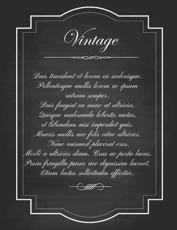 elegant white: Vector of  vintage frames, blank black chalkboard design. Illustration eps10 Illustration