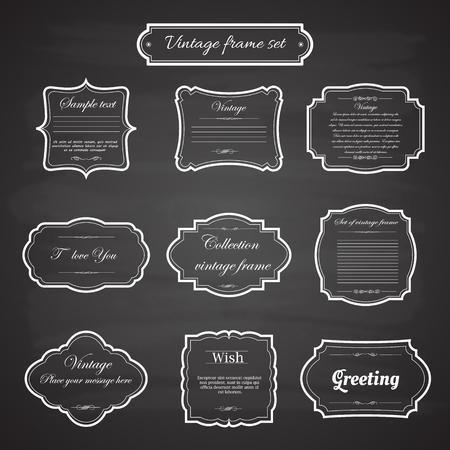 葡萄收穫期: 老式框架向量設置黑板上復古的背景。書法的設計元素。 向量圖像