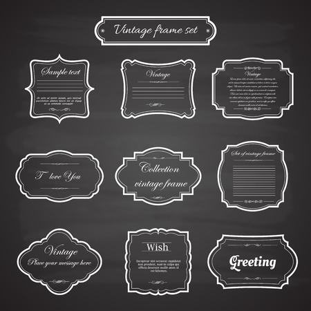 vintage frame: Vector of vintage frame set on chalkboard retro background. Calligraphic design elements.