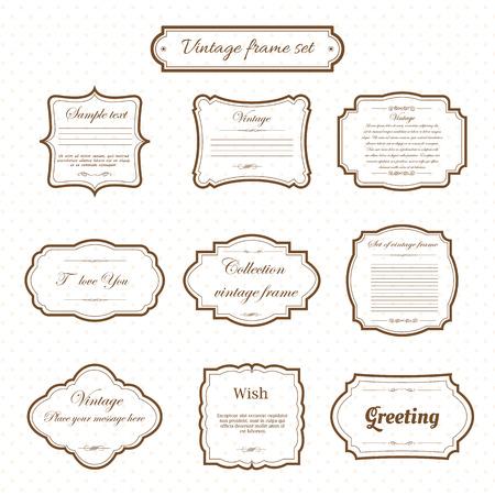 Vector van uitstekend frame dat op patroon retro achtergrond wordt geplaatst. Kalligrafische ontwerpelementen. Stock Illustratie