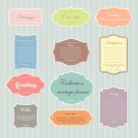 label frame: Vecter of vintage frame set on pattern retro background. Calligraphic design elements. Illustration