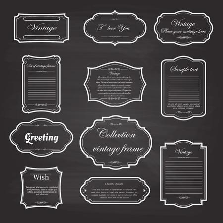 Vecter of vintage frame set on chalkboard retro background. Calligraphic design elements.