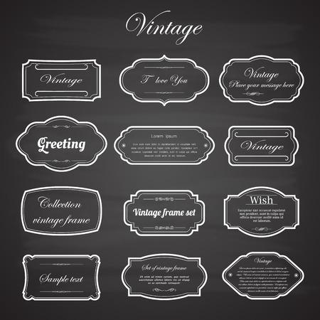 ornate frame: Vector of vintage frame set on chalkboard retro background. Calligraphic design elements.