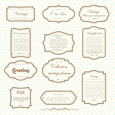 Vecter of vintage frame set on pattern retro background. Calligraphic design elements. Vettoriali