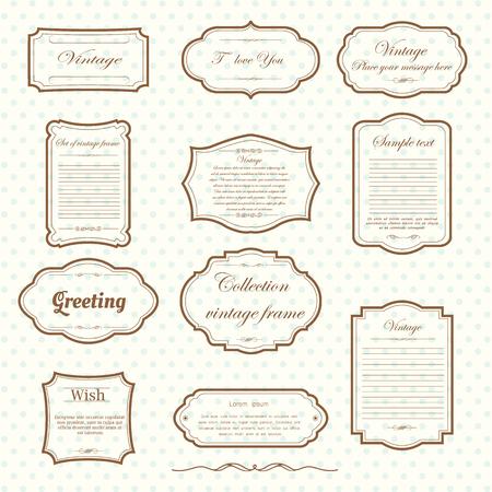 vecter: Vecter of vintage frame set on pattern retro background. Calligraphic design elements. Illustration