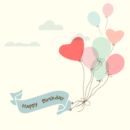 red balloons: Happy birthday postcard, vintage ribbon with heart balloon - vector design